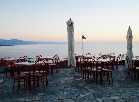 A restaurant in Molyvos, Lesbos, is completely empty, in the middle of high tourist season.